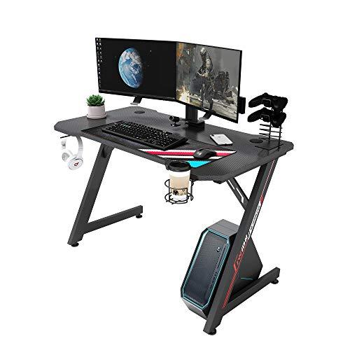 IntimaTe WM Heart Gaming Tisch, Gamer Computer Schreibtisch, Groß Ergonomischer Computertische, Schwarz Gamer Tisch, Gamer Tisch mit Kopfhörer Haken, Griffhalter, Getränkehalter, Schwarz
