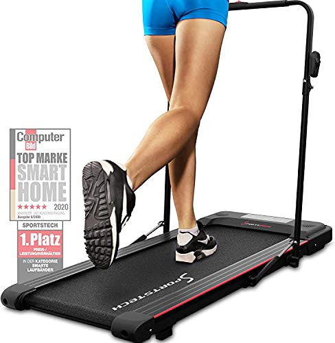 Sportstech Laufband für Zuhause & Büro Easy verstaubar   eingebauter Bluetooth-Lautsprecher & APP   Walking Pad   Klappbare Haltestange & extra leise für Fitness bis 8 km/h   DFT100