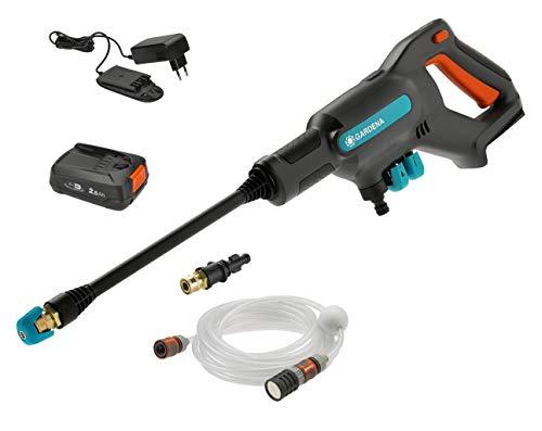 GARDENA Akku-Mitteldruckreiniger AquaClean 24/18V P4A Ready-To-Use Set: Akku-Reiniger für den Außenbereich, 3 Reinigungsstufen, max. Druck 24 bar, inkl. Akku + Ladegerät (14800-20)