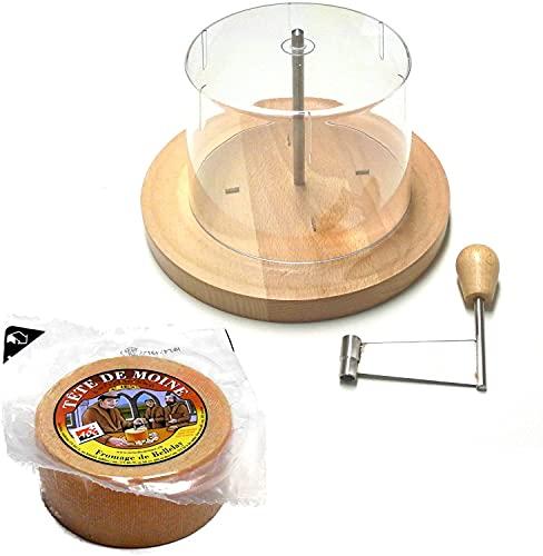 Käsehobel Set Tete de Moine Käse halber Laib und Haube KÜHLBOX-Versand mit Styroporbox und Spezialkühlakku für Lebensmittelversand