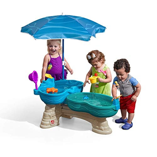STEP2 Spill & Splash Seaway Wasserspieltisch | Großer Wassertisch mit 11-teiligem Zubehör Set & Sonnenschirm | Garten Wasser Spieltisch für Kinder in Blau