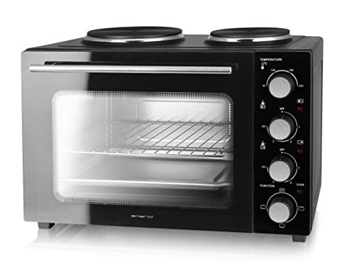 Emerio Multi Backofen mit 2 Kochplatten, 3200 Watt, Pizzaofen, Camping Küche, gleichzeitig kochen und backen, Ober-/Unterhitze, Thermostat, 90°-230°C, Innenbeleuchtung, BPA frei, MO-125236, schwarz