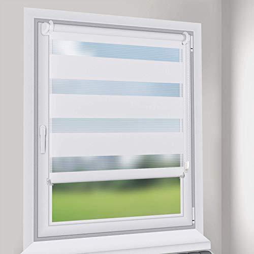 Sekey Doppelrollo - Duo Rollo Klemmfix ohne Bohren - 65cm x 130cm - Duo Rollos für Fenster und Tür - Sonnenschutz - Weiß