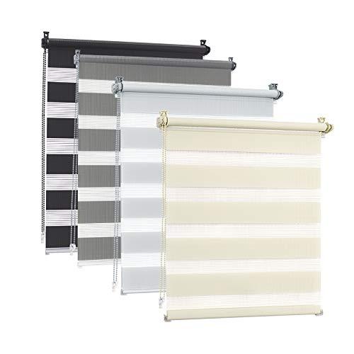 EUGAD Doppelrollo klemmfix ohne Bohren 90x150cm Anthrazit Duo Rollo Klemmrollo Seitenzugrollo Easyfix mit gleichfarbiger Zubehör, Zebrarollo lichtdurchlässig & verdunkelnd, Rollo für Fenster und Tür