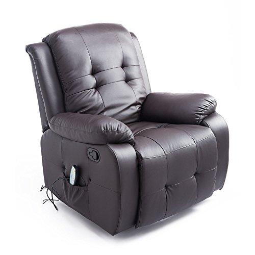 HOMCOM Massagesessel mit Wärmefunktion Fernsehsessel Relaxsessel TV Sessel mit Liegefunktion (Braun)