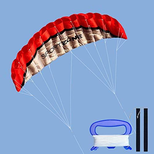 Kwasyo 2.5m Dual Line Stunt Sport Drachen mit Handgriff 30m String, Kitesurfen am Strand, Outdoor Park Garten Spiele Spaß … (Rot)