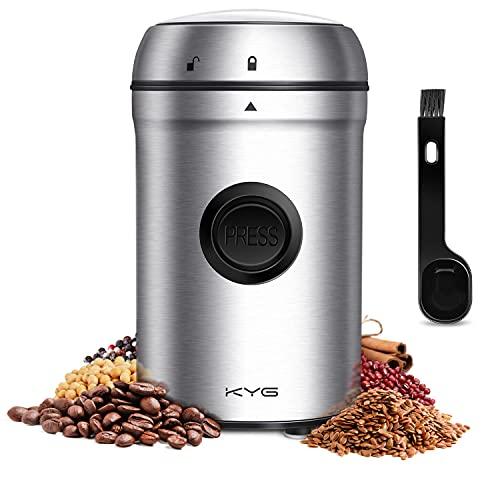 KYG Kaffeemühle 200W Elektrische Propellermühlen mit 25000 U/min Leistungsstarker Motor 80g Kapazität Sicherheitsschloss mit 304 Edelstahlklingen, für Kaffeebohnen Nüsse Gewürze Getreide