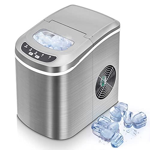 Eiswürfelmaschine - Neue Tragbare Eismaschine für Haushalt/Büro - 15kg Eis in 24 Stunden - 2 Eiswürfelgrößen wählbar (Silber)