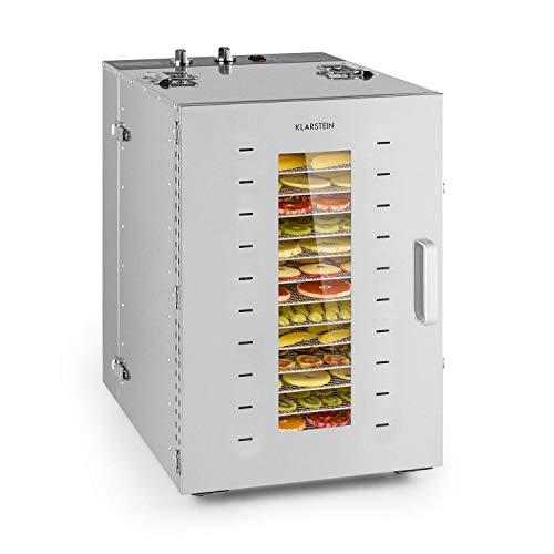 Klarstein Master Jerky 16 Dörrautomat - 1500W, stufenlos regelbare Temperatur von 40-90 °C, 15h-Timer, DigiSet Control, 16 Einschübe aus Edelstahl, Gehäuse aus rostfreiem Edelstahl, silber