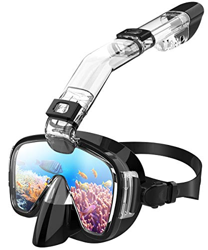 Teaisiy Tauchermaske, 2 in 1 Faltbare Schnorchelmaske mit neuestem Atemsystem, Anti-Fog- und Anti-Leak-Schnorchel-Set mit Kamerahalterung für Erwachsene und Kinder(Schnorcheln/Tauchen/Schwimmen)
