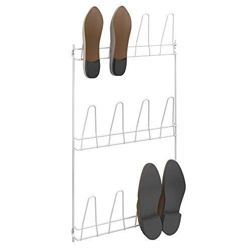Metaltex 36611214080 Penny mit Tür 6 Paar Schuhe, Metall, weiß, 40 x 6 x 5 cm