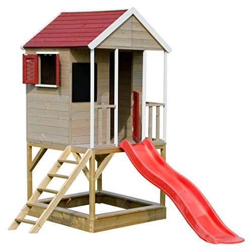 Wendi Toys M7 Spielhaus Garten Holz | Holzspielhaus Kinder Garten | Spielturm Garten Holz | Outdoor Spielzeug mit Kinder Rutsche, Sandkasten und Tafel | Gartenhaus Holz | Kinderspielzeug ab 3 Jahre