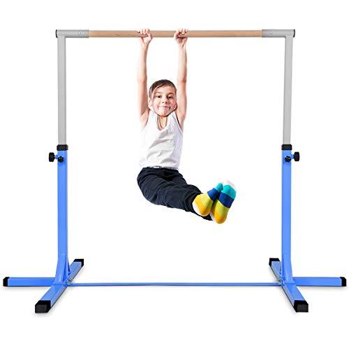 COSTWAY Gymnastik Turnreck, Turnreck höhenverstellbar, Turnstangen bis 100kg belastbar, Reckstange, Reckanlage, Trainingsgeräte, Übungsstange für den Innenbereich, Heimtraining (Blau)