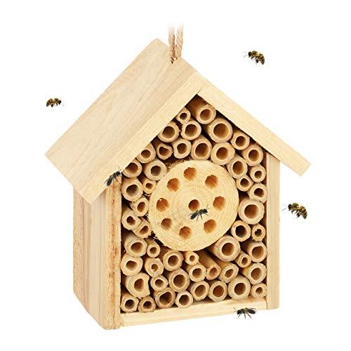 Relaxdays Insektenhotel, Nisthilfe für Wildbienen & Wespen, Garten, Balkon, Bienenhotel HxBxT 15,5 x 14,5 x 8 cm, Natur