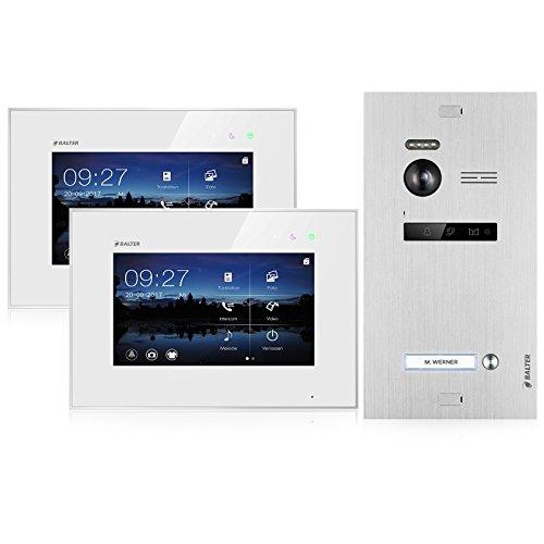 BALTER EVO Video Türsprechanlage ✓ 2 x Touchscreen 7 Zoll Monitor ✓ 2-Draht BUS ✓ Türstation für 1 Familienhaus Türklingel ✓ 150° Weitwinkel-Kamera (2 Monitore)