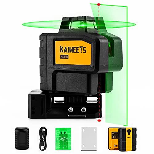 Kreuzlinienlaser selbstnivellierend Grün mit Lotpunkte, Laser Nivelliergerät mit Zusatzakku, Linienlaser Baulaser 360 Grad, USB-Aufladung, Arbeitsbereich: 30m, 60m mit Empfänger, KAIWEETS KT360B