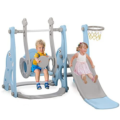 4-in-1 Kleinkinderrutsche und Schaukel, Spielset mit Basketballkorb, extra lange Rutsche, einfach aufzubauende Babyrutsche für drinnen und draußen, freistehende Rutschen (blau)