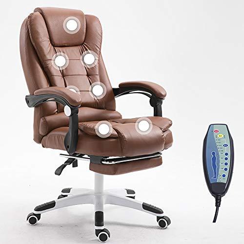 ZDYLM-Y Massage-Bürostuhl, Office Reclining Chair mit Fußstütze, höhenverstellbarer Armlehne und großem Neigungswinkel,Braun