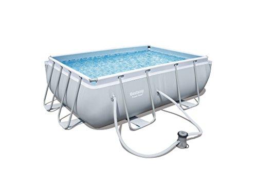 Bestway Power Steel Frame Pool Set viereckig, mit Kartuschenfilterpumpe, 282x196x84 cm, grau