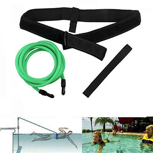 FOOING Einstellbare Pool Schwimmgürtel, Schwimmwiderstand Gürtel Schwimmtraining Bungee Durable Schwimmgurt Bremsschirm und Elastikband für Schwimmingpools Widerstandstraining (4M Grün)