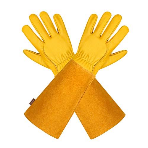 Gartenhandschuhe aus Leder für Damen und Herren – Isilila atmungsaktive Rosen-Handschuhe mit Dornschutzhandschuh, Lange Rindslederärmel, Gartenarbeitshandschuhe für Gärtner und Bauern, gelb