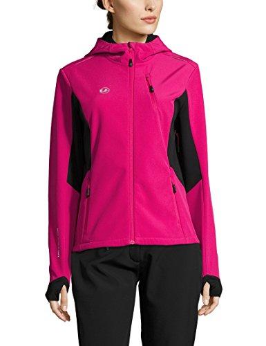 Ultrasport Advanced Damen Softshelljacke Bibi, moderne zweifarbige Funktionsjacke, Outdoorjacke, Laufjacke, Fitnessjacke, Pink/Schwarz, M
