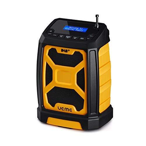 UEME Baustellenradio Robustes DAB+ FM Radio mit Bluetooth und Aux Anschluss (Gelb-Schwarz)