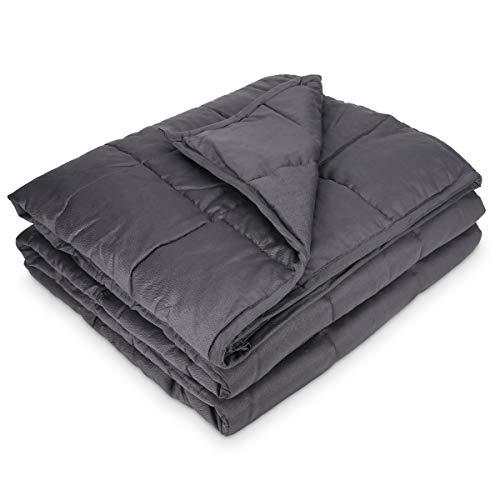 Navaris Gewichtsdecke 135x200 cm 8,8 kg - Bezug aus Baumwolle - 7 Schichten - Therapiedecke schwere Bettdecke - Beschwerte Decke grau