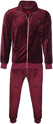 Herren Velours Samt Full Trainingsanzug Langarm Top & Elastische Taille Hose Gr. XXXXX-Large, wein
