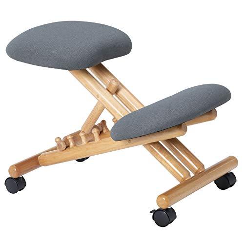 Kniehocker Bormio ergonomisch, Sitzhocker Kniestuhl Bürohocker, höhenverstellbar, mit Stoffbezug in grau