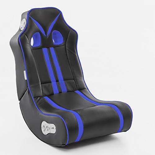 Wohnling® Soundchair in Schwarz Blau mit Bluetooth | Musiksessel mit eingebauten Lautsprechern | Multimediasessel für Gamer | 2.1 Soundsystem - Subwoofer | Music Gaming Sessel Rocker Chair