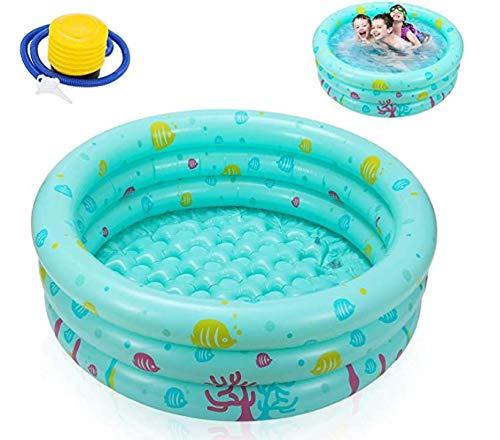 Ucradle Planschbecken, Ø100x27cm Babypool Kinderpool mit Kostenlose Luftpumpe, Aufblasbarem Baby Pool Rund Schwimmbecken Kinder Schwimmbad mit Aufblasbarem Sicherheits-Boden, Grün