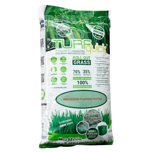 TURFquick Masterline Premium, Rasenmatte, Rasenvlies, Matte mit integrierten Rasensamen, für eine einfache Aussaat und zur Hangbefestigung 0,80 x 50m (40m²)