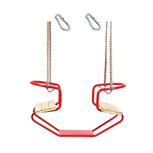 h2i Doppelschaukel Schiffschaukel Metallrahmen mit zwei Holzsitzen incl. Karabiner zum Einhängen Farbe Rot