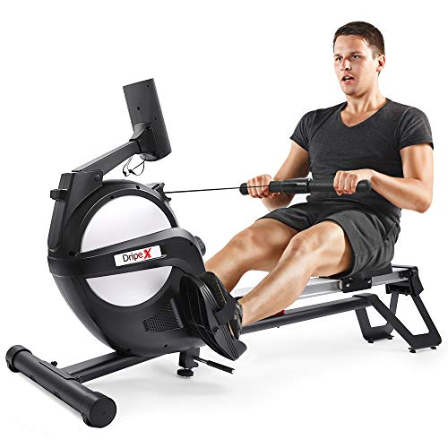 Dripex Rudergerät für Fitness zu Hause, rudermaschine mit LED-Monitor 3 kg Schwungmasse und 15 stufige Widerstandseinstellung