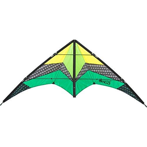 HQ 112382 - Limbo II Emerald Zweileiner Lenkdrachen, ab 10 Jahren, 67x155cm, inkl. 40kp Polyesterschnüre 2x20m auf Winder mit Schlaufen, 2-6 Beaufort