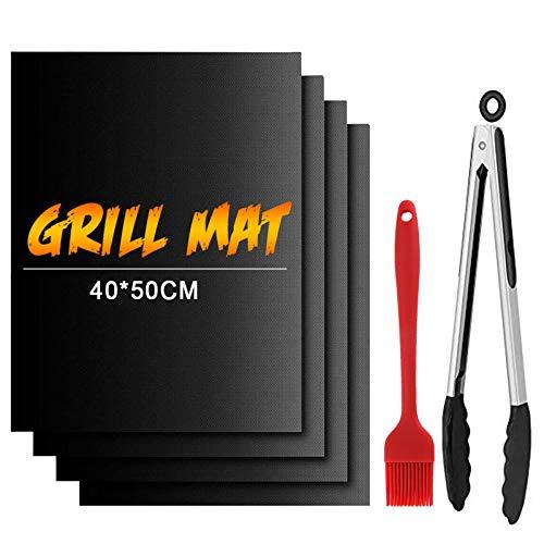 Dailyart Grillmatte 50x40cm 100% Antihaft BBQ Grillmatten 4er Set mit 13' Grillzange & Silikonbürste Wiederverwendbar PFOA-Frei für bis 500℉ Teflon Grillmatten für Gasgrill, Holzkohle, Elektrogrill