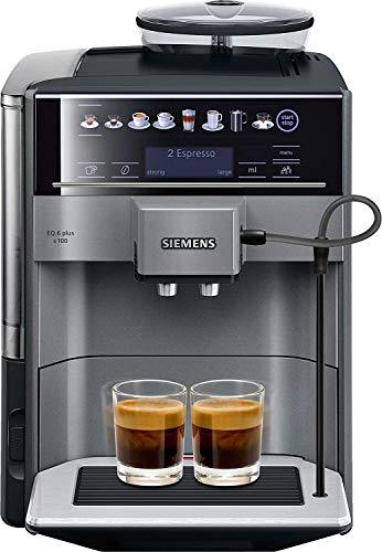 Siemens EQ.6 plus s100 TE651209RW Kaffevollautomat, Menüsprache nicht auf Deutsch, Polycarbonate, 1.7 liters, Schwarz, Titan