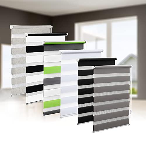 Eurohome Doppelrollo Klemmfix ohne Bohren, Duo Rollo,75cm x 150cm (Stoffbreite 71 cm) Grau Transparentes und undurchsichtiges Sichtschutz Rollo mit Klemmträgern für Fenster