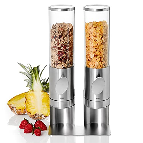 AdHoc CS12 2er Set Frühstück Cerealien-/ Müslispender mit Ständer DEPOSITO, Edelstahl/Acryl