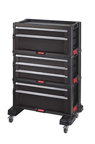 Keter système modulable Workshop Werkzeugwagen mit 7 Schubladen, Ref. 238557, Polypropylen, Schwarz
