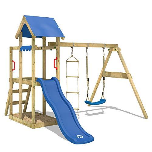 WICKEY Spielturm Klettergerüst TinyPlace mit Schaukel & blauer Rutsche, Kletterturm mit Sandkasten, Leiter & Spiel-Zubehör