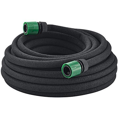 Juskys Perlschlauch Flex mit Befestigungsmaterial   Verbindern und Hahnstück   50 m   schwarz   Schlauch Tropfschlauch Bewässerung