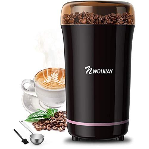 NWOUIIAY Kaffeemühle Elektrische Kaffeemühle elektrische 300W Mühle für Kaffeebohnen Nüsse Gewürze Körner und Gewürzkapazität bis zu 100 g
