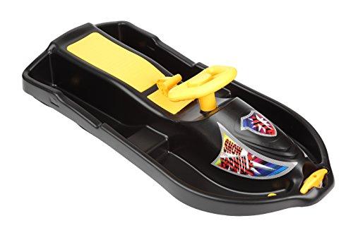Plastkon Kinder Lenkschlitten Steerable sledges SNOW FORMULE, schwarz, One Size