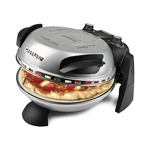 G3Ferrari elektrischer Pizzaofen Delizia G1000606 silber, bis 400 Grad mit feuerfestem Naturstein / Pizza und Fladen uvm. in 3 Minuten / G3 Ferrari die Nr. 1 der Pizzamaker /auch für Tisch und Garten