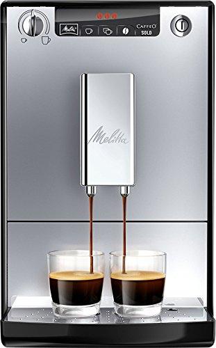 Melitta Caffeo Solo E950-103 Schlanker Kaffeevollautomat mit Vorbrühfunktion | 15 Bar | LED-Display | höhenverstellbarer Kaffeeauslauf | Herausnehmbare Brühgruppe |Silber