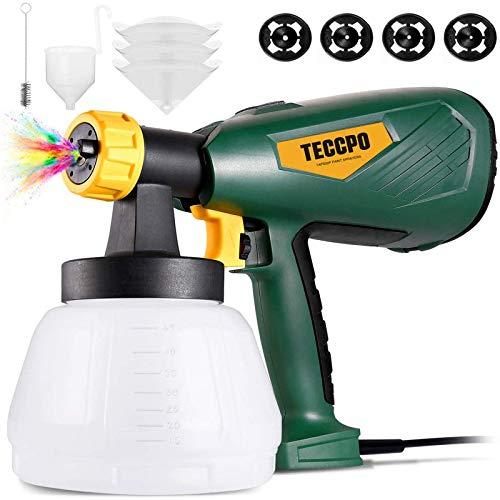 TECCPO Farbsprühsystem 500W 800ml/min, Elektrisches Farbspritzpistole mit 4 Düsenspitzen und 3 Filterpapiers, 1300ml-Behälter, Elektro Sprühpistole HVLP - TAPS02P