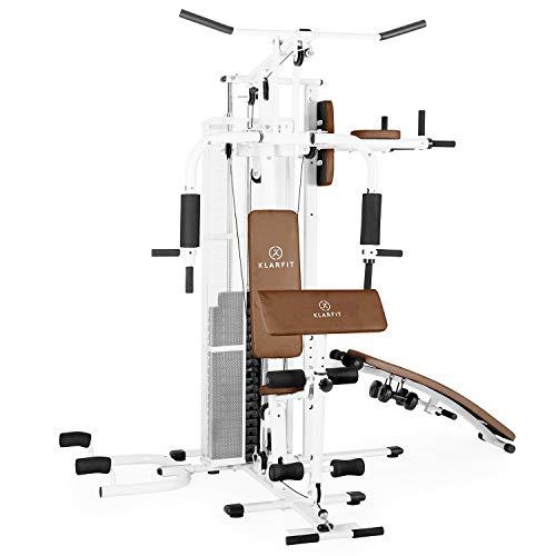 Klarfit Ultimate Gym 5000 Kraftstation - multifunktionale Fitnessstation, Trainingsstation, Ganzkörpertraining, inkl. Gewichten, 50 unterschiedliche Übungen, weiß