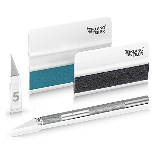 Klangfeiler® Rakelset zum Folieren - 2 Rakel & Messer & 5 Klingen - Folierungs werkzeug set zum folieren